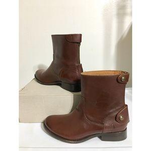 Frye Melissa Button Short  Boots Zip Leather Sz 6